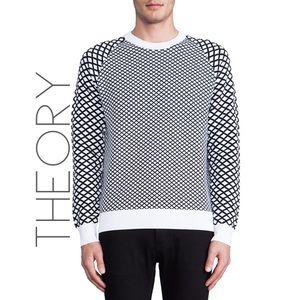 Theory Men's black gray geo knit sweater XL 0544